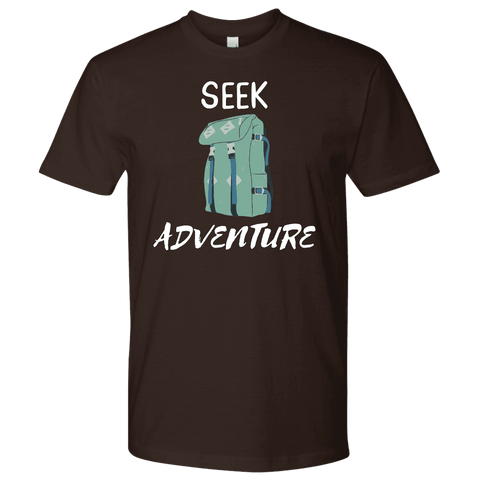 Image of Seek Adventure with Backpack (Mens) T-shirt Next Level Mens Shirt Dark Chocolate S