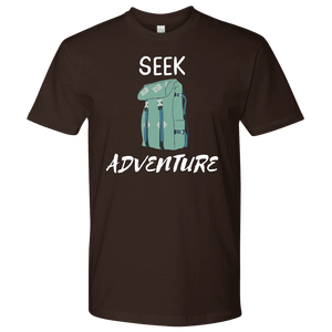 Seek Adventure with Backpack (Mens) T-shirt Next Level Mens Shirt Dark Chocolate S