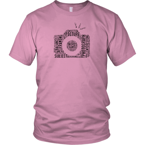 Image of Awesome Word Camera Shirt T-shirt District Unisex Shirt Pink S