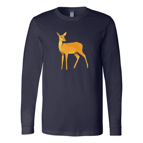 Image of Polygonal Doe T-shirt Canvas Long Sleeve Shirt Navy S
