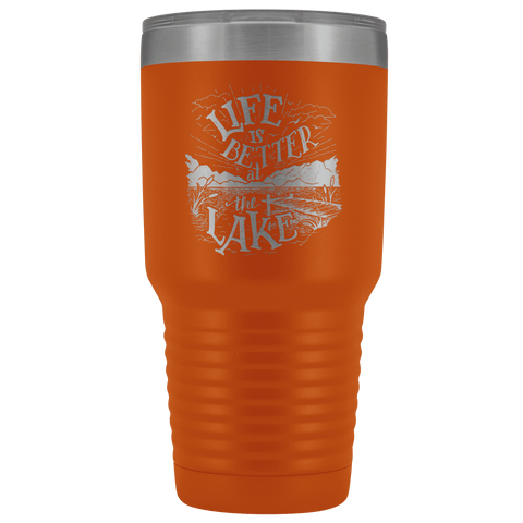Image of Life is Better at the Lake | 30 oz. tumbler Tumblers Orange