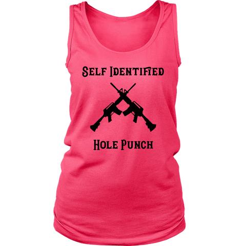 Self Identified Hole Punch T-shirt District Womens Tank Neon Pink S