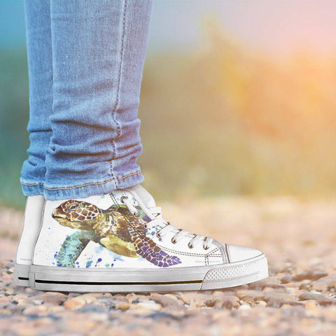 Image of Groovy Watercolor Turtle on Premium High Tops V.1