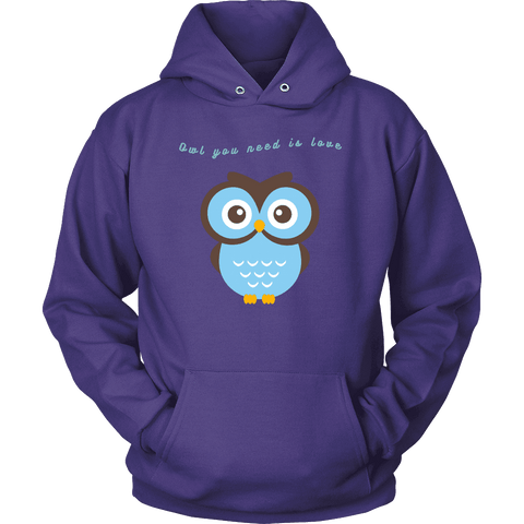 Image of Owl You Need is Love T-shirt Unisex Hoodie Purple S