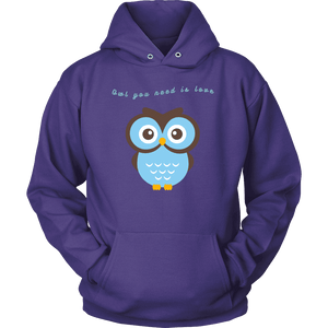 Owl You Need is Love T-shirt Unisex Hoodie Purple S