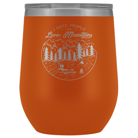 Image of Love The Mountains | Wine Tumbler Wine Tumbler Orange
