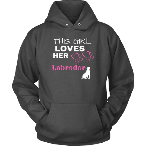 Image of This Girl Loves Her Lab T-shirt Unisex Hoodie Charcoal S