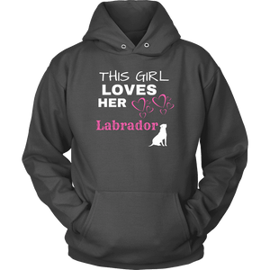 This Girl Loves Her Lab T-shirt Unisex Hoodie Charcoal S