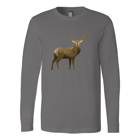 Real Polygonal Deer T-shirt Canvas Long Sleeve Shirt Asphalt S