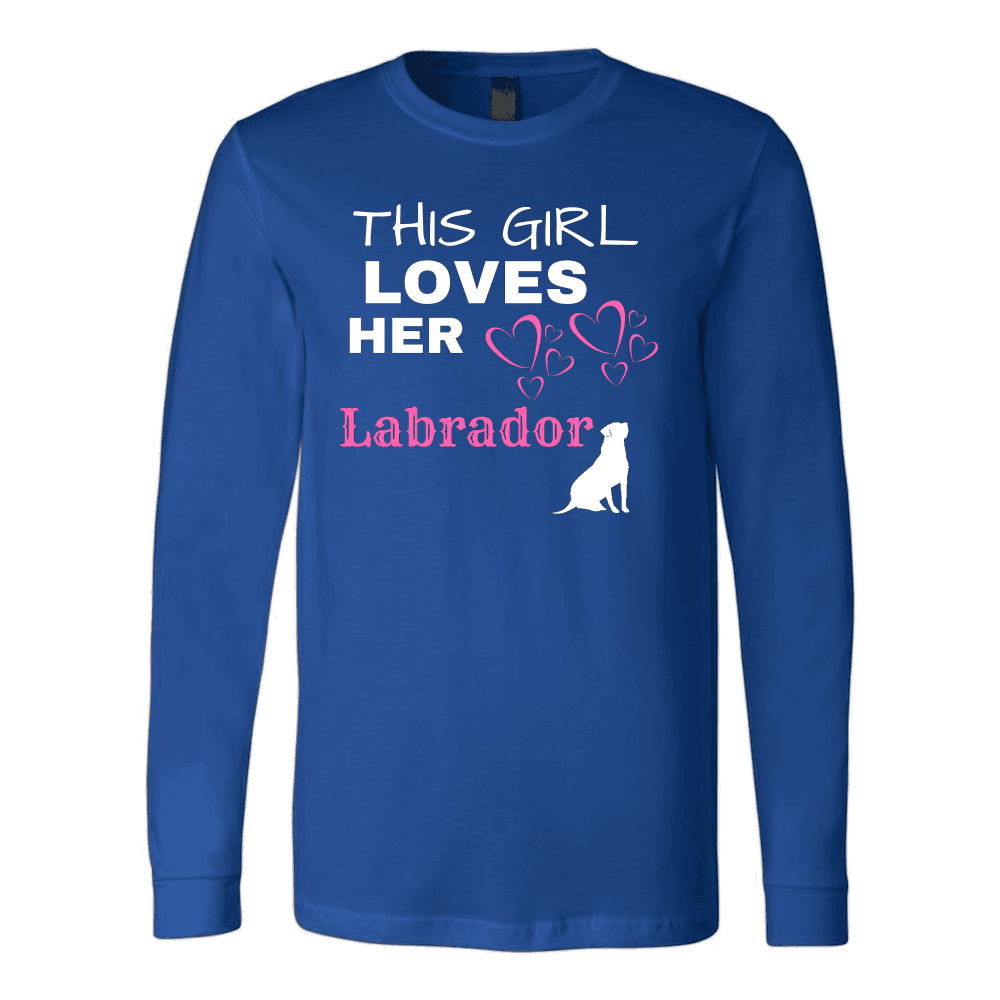 This Girl Loves Her Lab T-shirt Canvas Long Sleeve Shirt Royal S