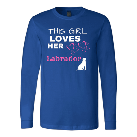 Image of This Girl Loves Her Lab T-shirt Canvas Long Sleeve Shirt Royal S
