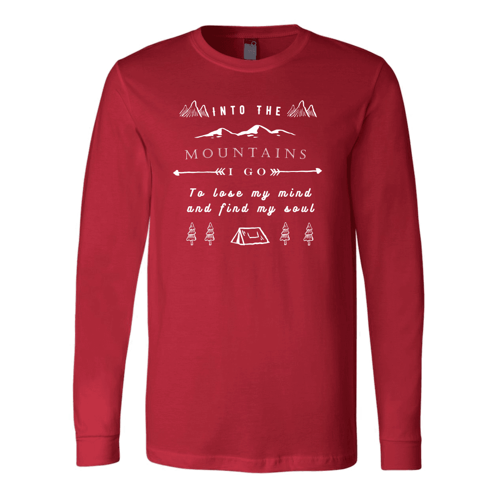 Into the Mountains I Go T-shirt Canvas Long Sleeve Shirt Red S
