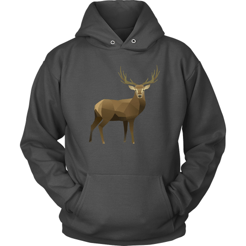 Real Polygonal Deer T-shirt Unisex Hoodie Charcoal S