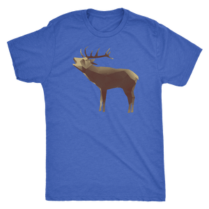 Large Polygonaly Deer T-shirt Next Level Mens Triblend Vintage Royal S