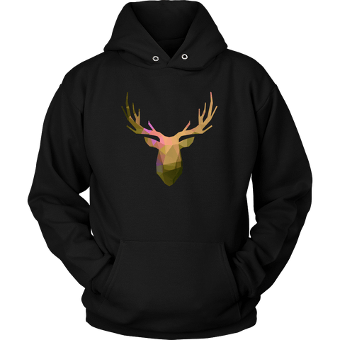 Image of Deer Polygonal 2 T-shirt Unisex Hoodie Black S