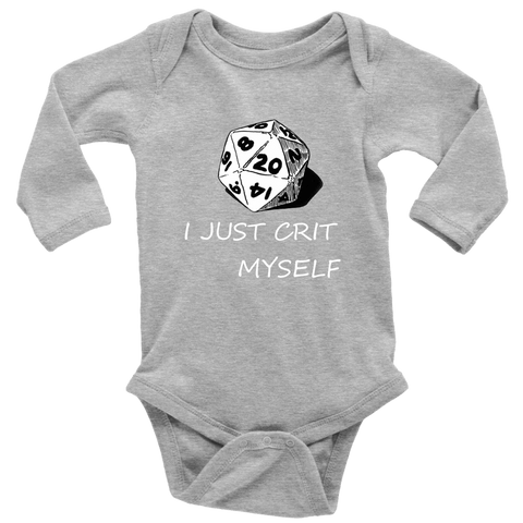 Image of I Just Crit Myself Onsies T-shirt Long Sleeve Baby Bodysuit Heather Grey NB