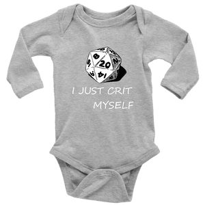I Just Crit Myself Onsies T-shirt Long Sleeve Baby Bodysuit Heather Grey NB