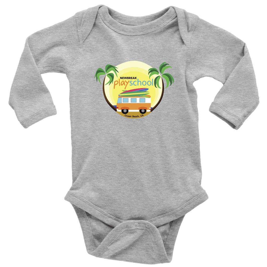 Newbreak Playschool Onesie T-shirt Long Sleeve Baby Bodysuit Heather Grey NB