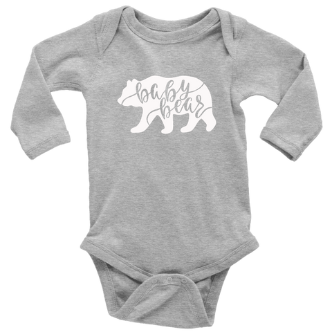 Baby Bear Shirts and Onesies T-shirt Long Sleeve Baby Bodysuit Heather Grey NB