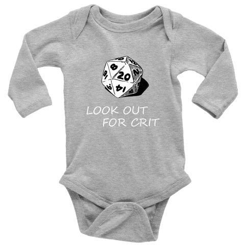 Image of Look Out For Crit Onesies T-shirt Long Sleeve Baby Bodysuit Heather Grey NB
