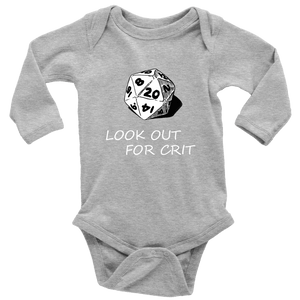 Look Out For Crit Onesies T-shirt Long Sleeve Baby Bodysuit Heather Grey NB