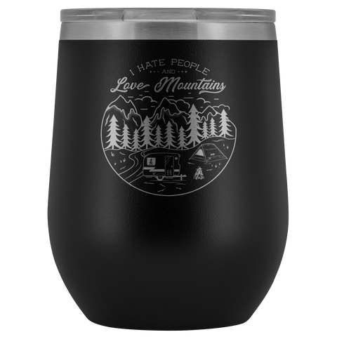 Image of Love The Mountains | Wine Tumbler Wine Tumbler Black