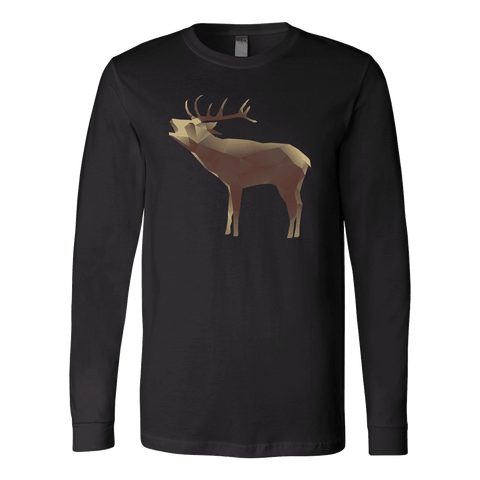 Image of Large Polygonaly Deer T-shirt Canvas Long Sleeve Shirt Black S