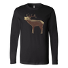 Large Polygonaly Deer T-shirt Canvas Long Sleeve Shirt Black S