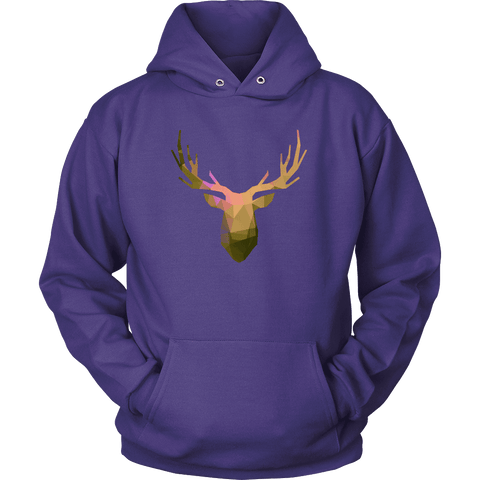 Deer Polygonal 2 T-shirt Unisex Hoodie Purple S