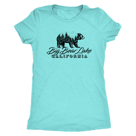 Image of Big Bear Lake California V.2, Womens, Black T-shirt Next Level Womens Triblend Tahiti Blue S