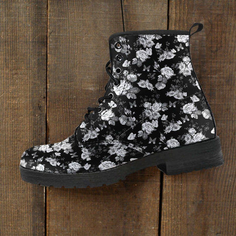 Image of Premium Eco Leather Boots with Rose Art
