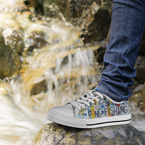 Image of Gone Fishin' | Premium Low Top Canvas Shoes Shoes