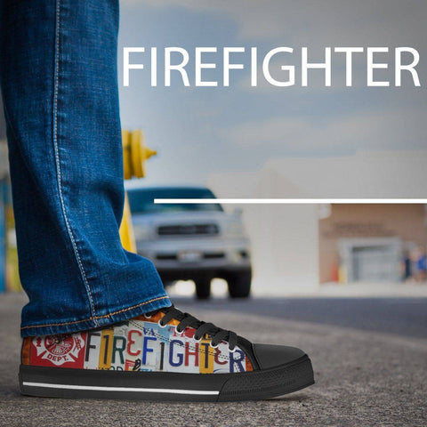 Image of Firefighter License Plate Art | Low Top Shoes Shoes