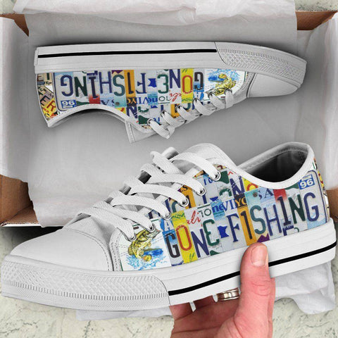 Gone Fishin' | Premium Low Top Canvas Shoes Shoes