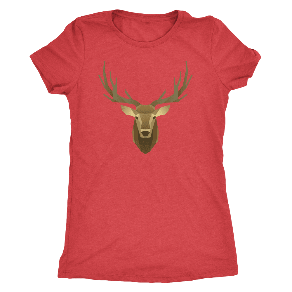 Deer Portrait, Real T-shirt Next Level Womens Triblend Vintage Red S