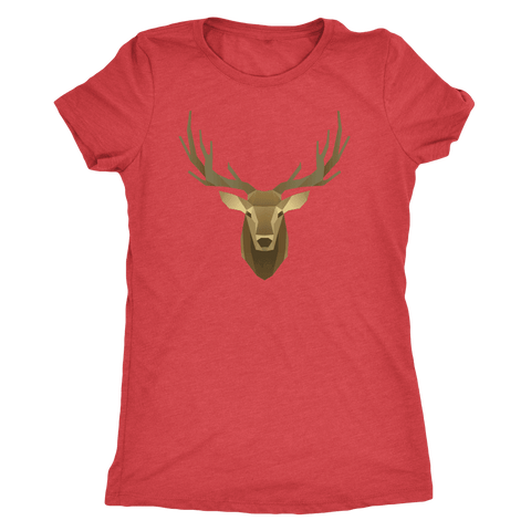 Image of Deer Portrait, Real T-shirt Next Level Womens Triblend Vintage Red S