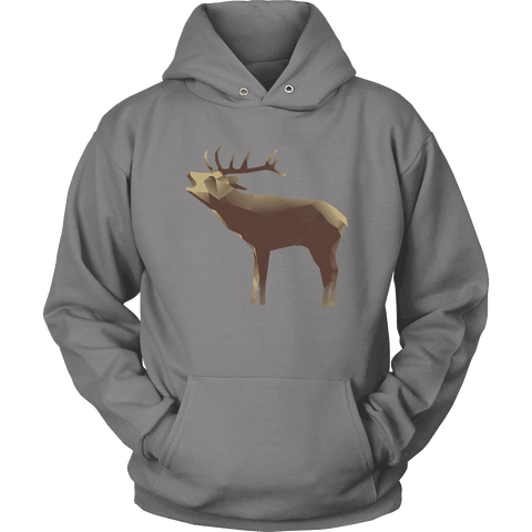 Large Polygonaly Deer T-shirt Unisex Hoodie Grey S