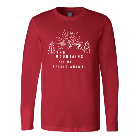 Image of Mountains Spirit T Shirt 1 T-shirt Canvas Long Sleeve Shirt Red S