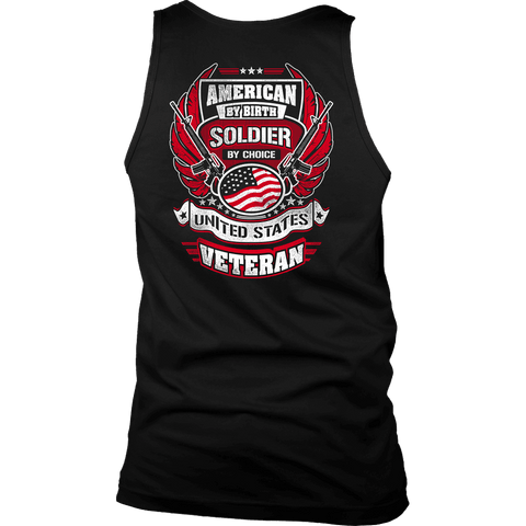 American by Birth, Soldier by Choice T-shirt District Mens Tank Black S