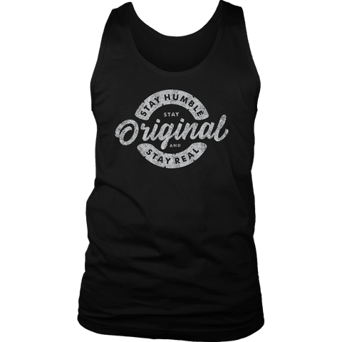 Image of Stay Real, Stay Original Mens Shirts T-shirt District Mens Tank Black S