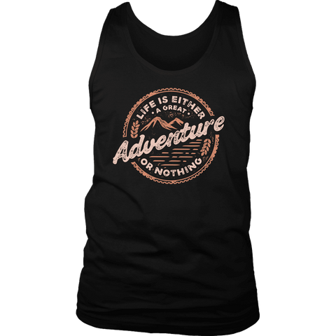 Image of Life Is A Great Adventure T-shirt District Mens Tank Black S