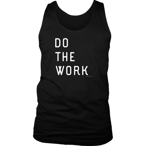 Image of Do The Work | Mens | White Print T-shirt District Mens Tank Black S