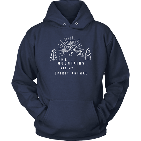 Image of Mountains Spirit T Shirt 1 T-shirt Unisex Hoodie Navy S