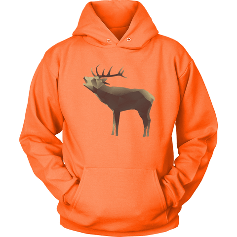 Large Polygonaly Deer T-shirt Unisex Hoodie Neon Orange S