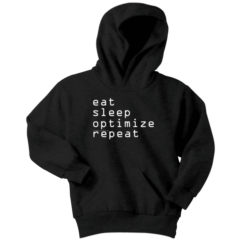 Image of eat, sleep, optimize repeat Hoodie V.1 T-shirt Youth Hoodie Black XS