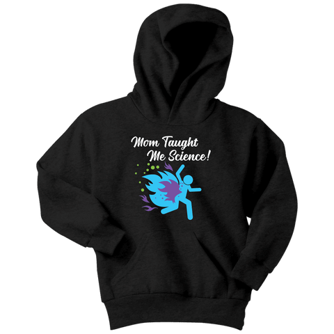 "Funny ""Mom Taught Me Science"" Kids T-Shirts T-shirt Youth Hoodie Black XS"