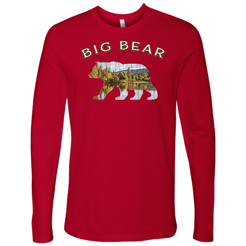 Image of Big Bear V.1 Men's Shirts T-shirt Next Level Mens Long Sleeve Red S