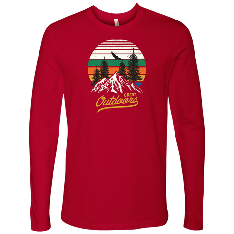 Image of Great Outdoors Shirts | Mens T-shirt Next Level Mens Long Sleeve Red S