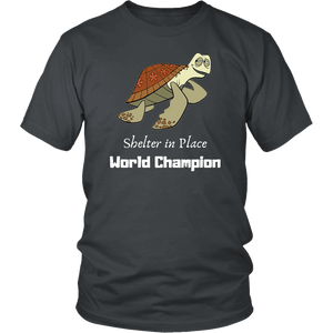 Shelter In Place World Champion, White Print T-shirt District Unisex Shirt Charcoal S