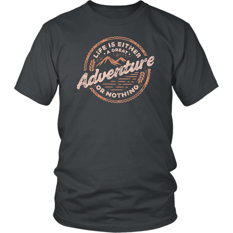 Image of Life Is A Great Adventure T-shirt District Unisex Shirt Charcoal S